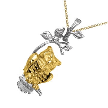 Подвеска с совой КОРОЛЕВА НОЧИ с бриллиантами из желтого золота П-24029
