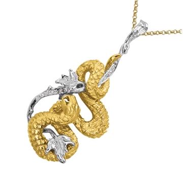 Подвеска 'ВИНОГРАДНАЯ ЗМЕЯ' с бриллиантами из желтого золота П-24028