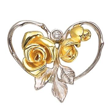 Золотая подвеска Роза с бриллиантом из желтого золота П-14020