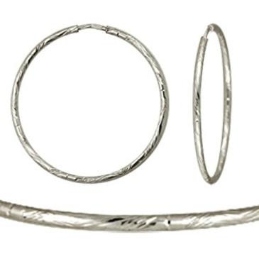 серьги кольцами диаметром 25 мм из белого золота 1407117052-8