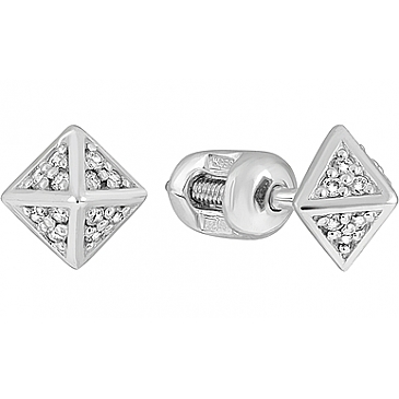 Пуссеты с бриллиантом из белого золота 127041