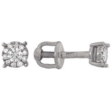 серьги c бриллиантами из белого золота 23036299