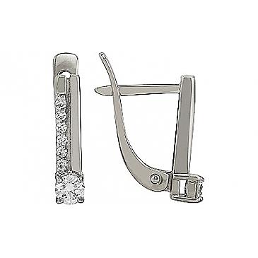 Серьги с бриллиантом из белого золота 96051