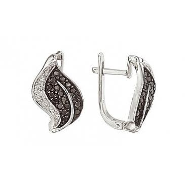 Серьги с черным и белым бриллиантами из белого золота 26582 от EVORA
