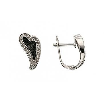 Серьги с черным и белым бриллиантами из белого золота 32297 от EVORA