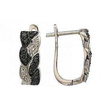 Серьги с чёрным и белым бриллиантами из белого золота 63621 от EVORA