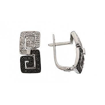 Серьги с чёрным и белым бриллиантами из белого золота 64397 от EVORA