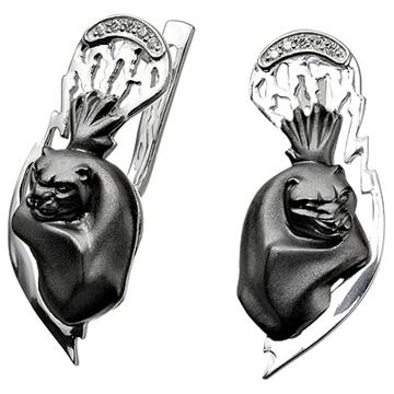 Серьги 'ЧЕРНЫЙ ЯГУАР' с бриллиантами из черного золота С-22045