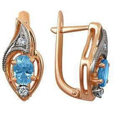серьги c аквамаринами и 4 бриллиантами из красного золота 22051633