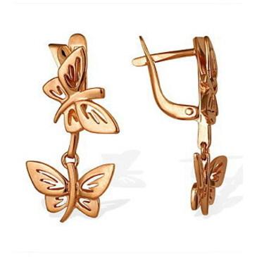 серьги Бабочки из красного золота 14010292