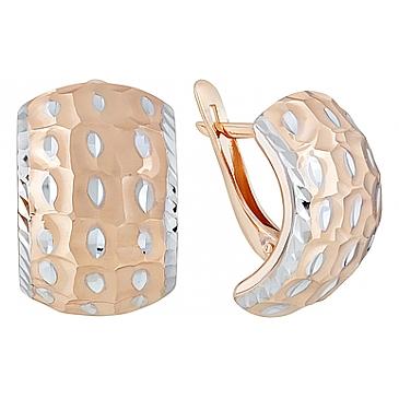 Серьги без камня с алмазкой из красного золота 123983