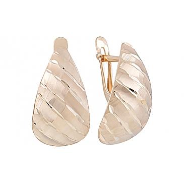Серьги без камня с алмазкой из красного золота 127063