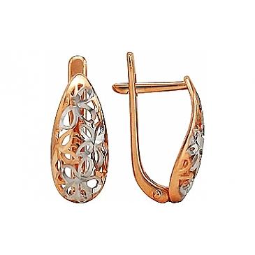 Серьги без камня с алмазкой из красного золота 74878