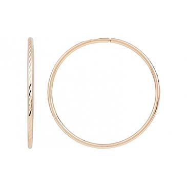 Серьги конго с алмазной гранью диаметр 30 мм из красного золота 116895 от EVORA