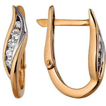 Классические серьги c бриллиантами из красного золота 21037622