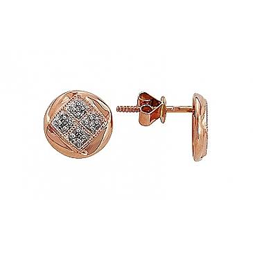 Пуссеты с бриллиантами из красного золота 75424