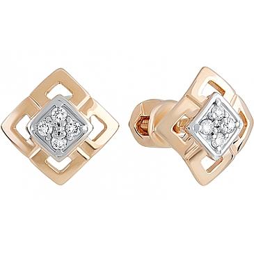 Пуссеты с бриллиантом из красного золота 128676