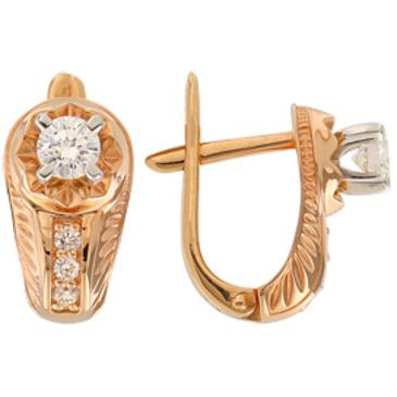 серьги c бриллиантами из красного золота 22037791