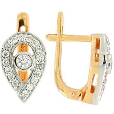 серьги c бриллиантами из красного золота 22033780