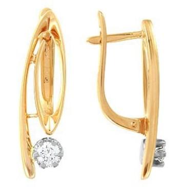 серьги c бриллиантами из красного золота 22032872