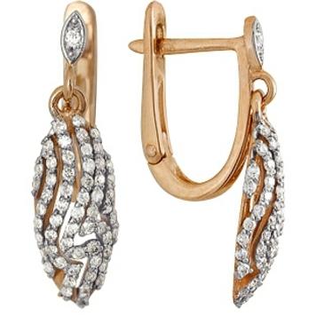 серьги c бриллиантами из красного золота 21034518
