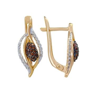 серьги c бриллиантами из красного золота 21038543-2
