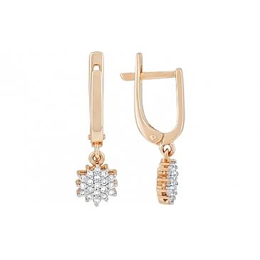 Серьги с бриллиантами из красного золота 115650