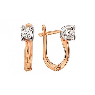 Серьги с бриллиантами из красного золота 34905