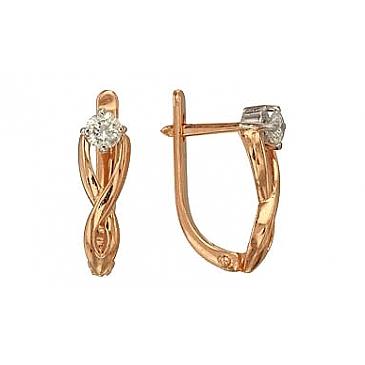 Серьги с бриллиантами из красного золота 34899