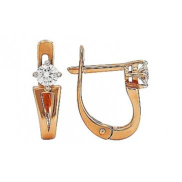 Серьги с бриллиантом из красного золота 105275