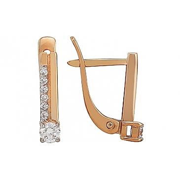 Серьги с бриллиантом из красного золота 115716