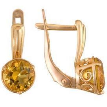 серьги c цитринами из красного золота 1090011054 от EVORA