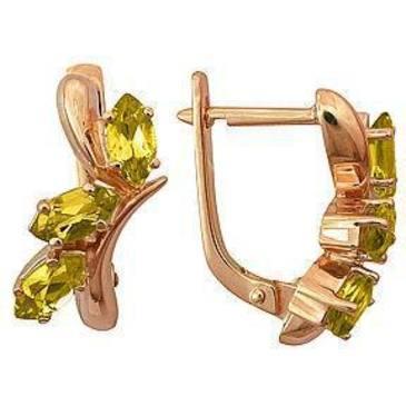 серьги c цитринами из красного золота 21901543 от EVORA