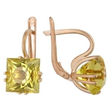 серьги c цитринами из красного золота 1090010247 от EVORA