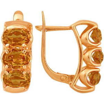 серьги c цитринами из красного золота 21901071 от EVORA
