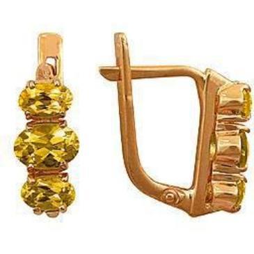 серьги c цитринами из красного золота 21901675 от EVORA