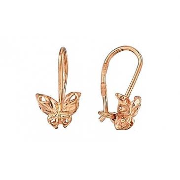 Детские серьги бабочки из красного золота 28418