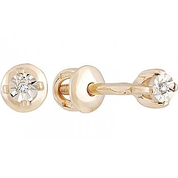 Серьги с фианитом и алмазкой из красного золота 130378