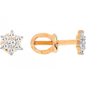 Серьги с фианитом и алмазкой из красного золота 72654