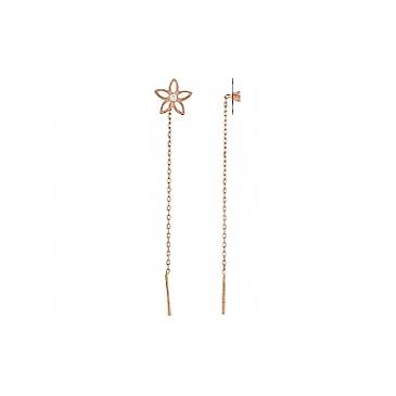 Серьги с фианитом и алмазкой из красного золота 97059