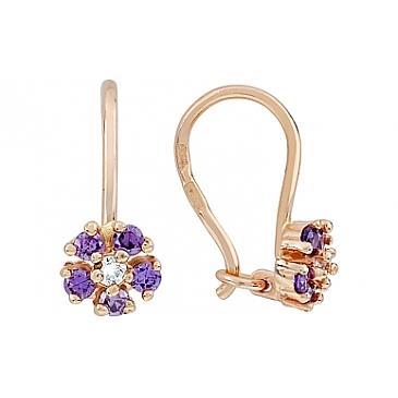 Серьги с фиолетовыми фианитами из красного золота 116739