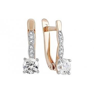Серьги с кристаллами SWAROVSKI и фианитом из красного золота 133533