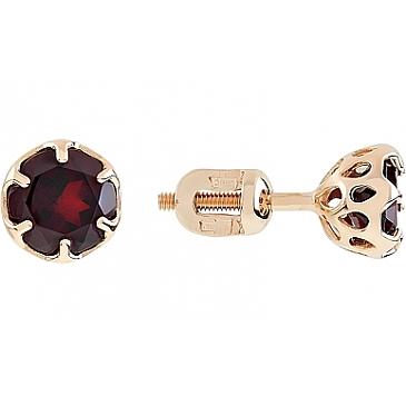 Пуссеты с гранатом из красного золота 112034