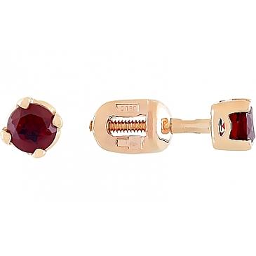 Пуссеты с гранатом из красного золота 25719