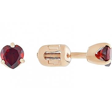 Пуссеты с гранатом сердце из красного золота 4687