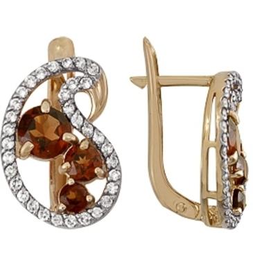 серьги c 6 гранатами и бриллиантами из красного золота 1980212015