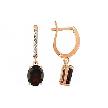 Серьги с гранатом и фианитом из красного золота 105675