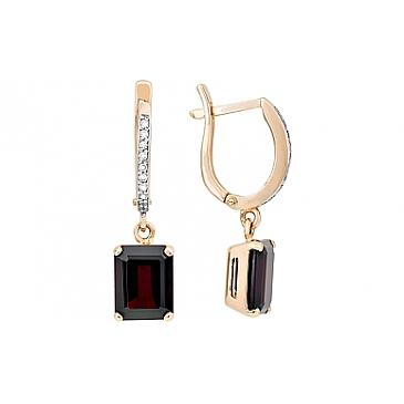 Серьги с гранатом и фианитом из красного золота 105547