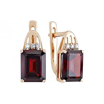 Серьги с гранатом и фианитом из красного золота 131910