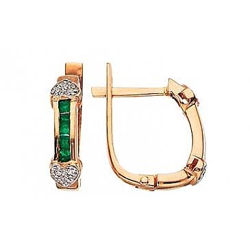 Серьги с бриллиантами и изумрудами из красного золота 3487